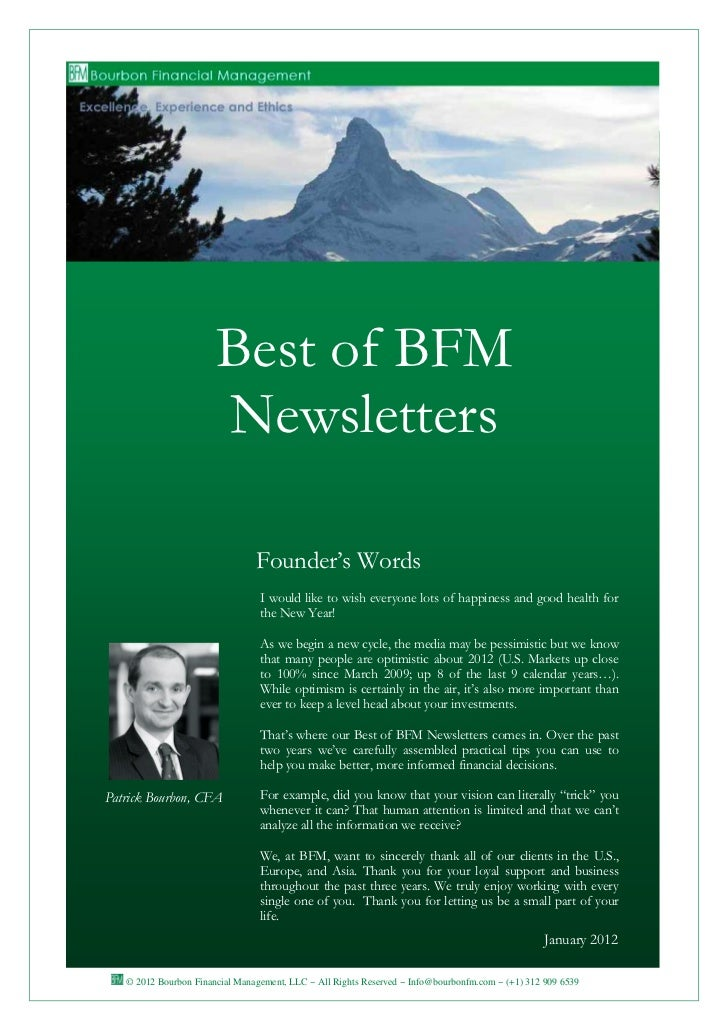 Best of BFM                       Newsletters                                Founder's Words                              ...