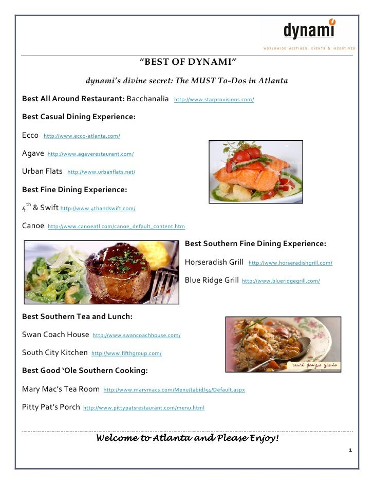 """""""BEST OF DYNAMI""""                       dynami's divine secret: The MUST To-Dos in Atlanta  Best All Around Restaurant: Bac..."""