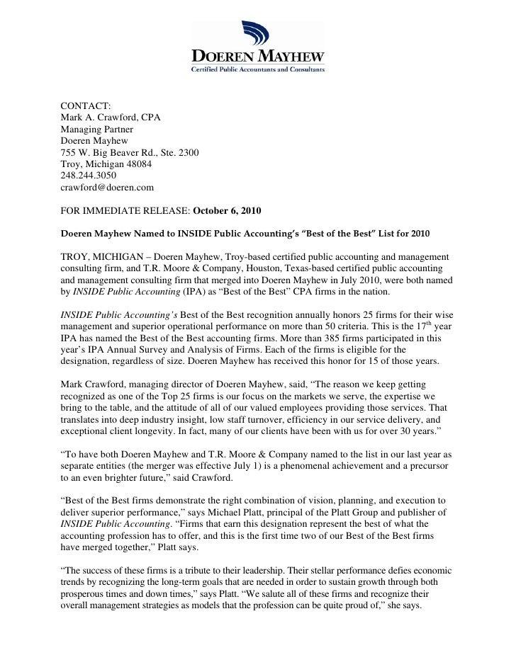 CONTACT: Mark A. Crawford, CPA Managing Partner Doeren Mayhew 755 W. Big Beaver Rd., Ste. 2300 Troy, Michigan 48084 248.24...