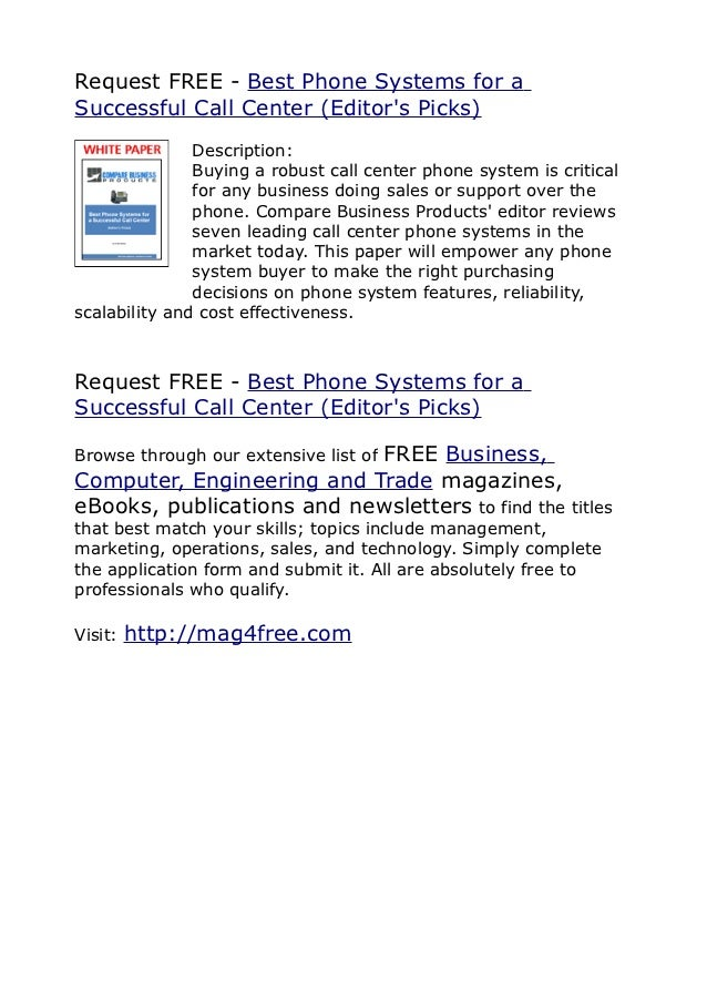 Request FREE - Best Phone Systems for aSuccessful Call Center (Editors Picks)               Description:               Buy...