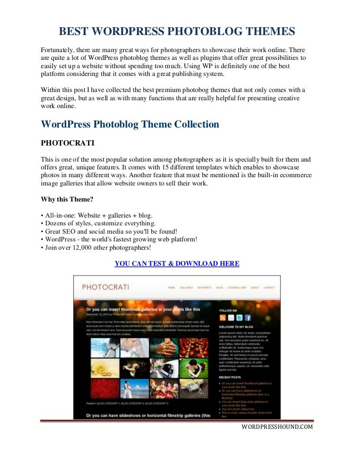 Best Photoblog Wordpress Themes
