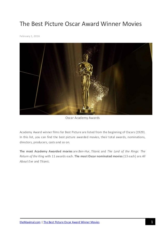 The best picture oscar award winner movies for Oscar awards winning movies