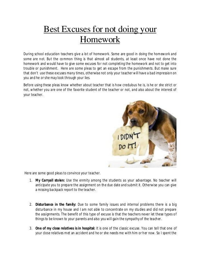 The best excuses for not doing homework