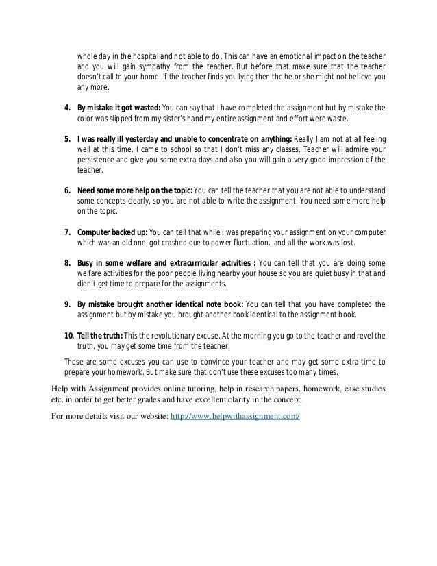 10 reasons i didn't do my homework