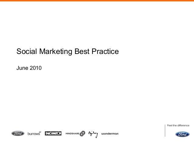 Social Marketing Best Practice June 2010