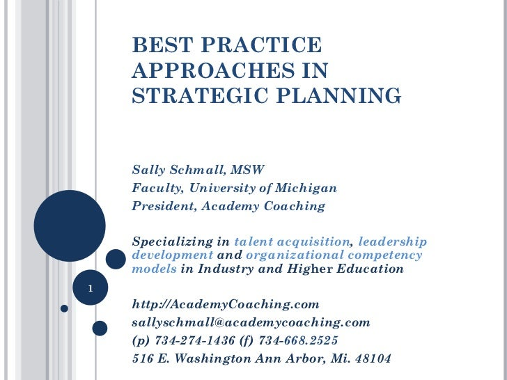BEST PRACTICE APPROACHES IN STRATEGIC PLANNING Sally Schmall, MSW  Faculty, University of Michigan President, Academy Coac...