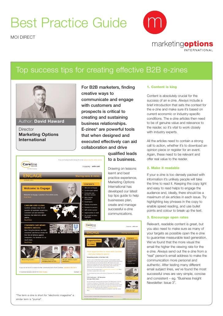 Best Practice Guide-  top success tips for creative effective b2b ezines