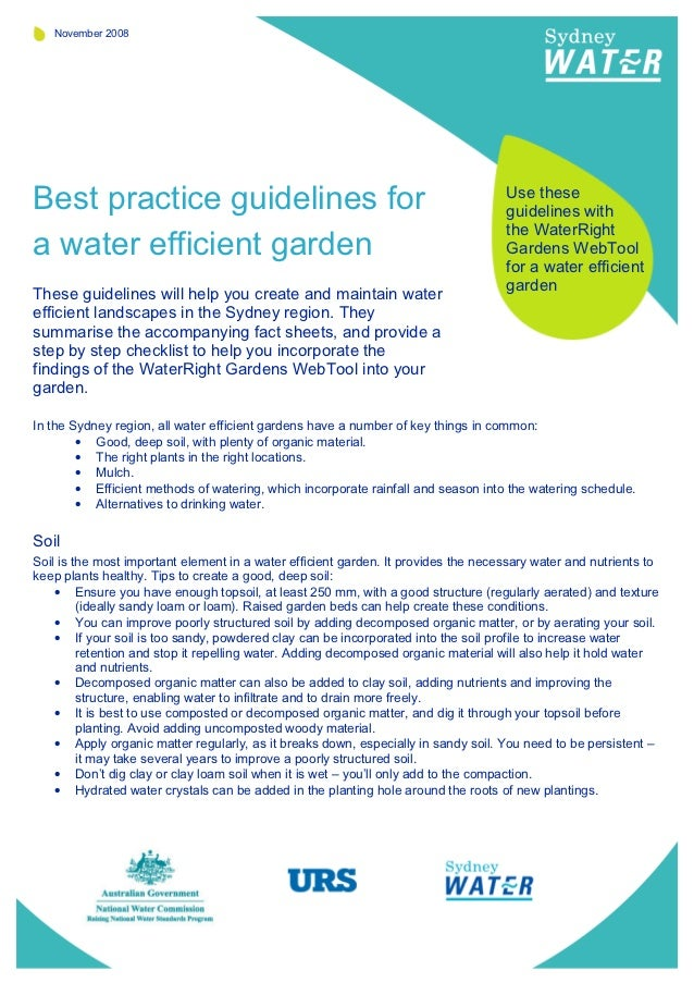 Best Practice Guidelines for A Water Efficient Garden - Sydney Water