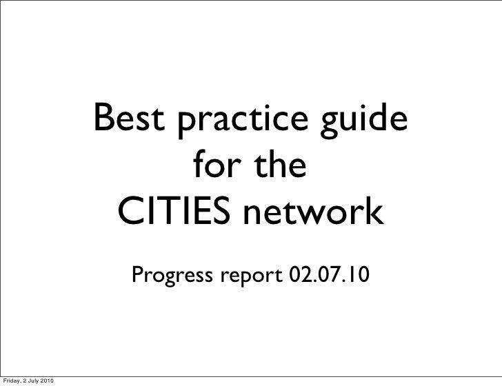 Best practice guide progress report 02.07