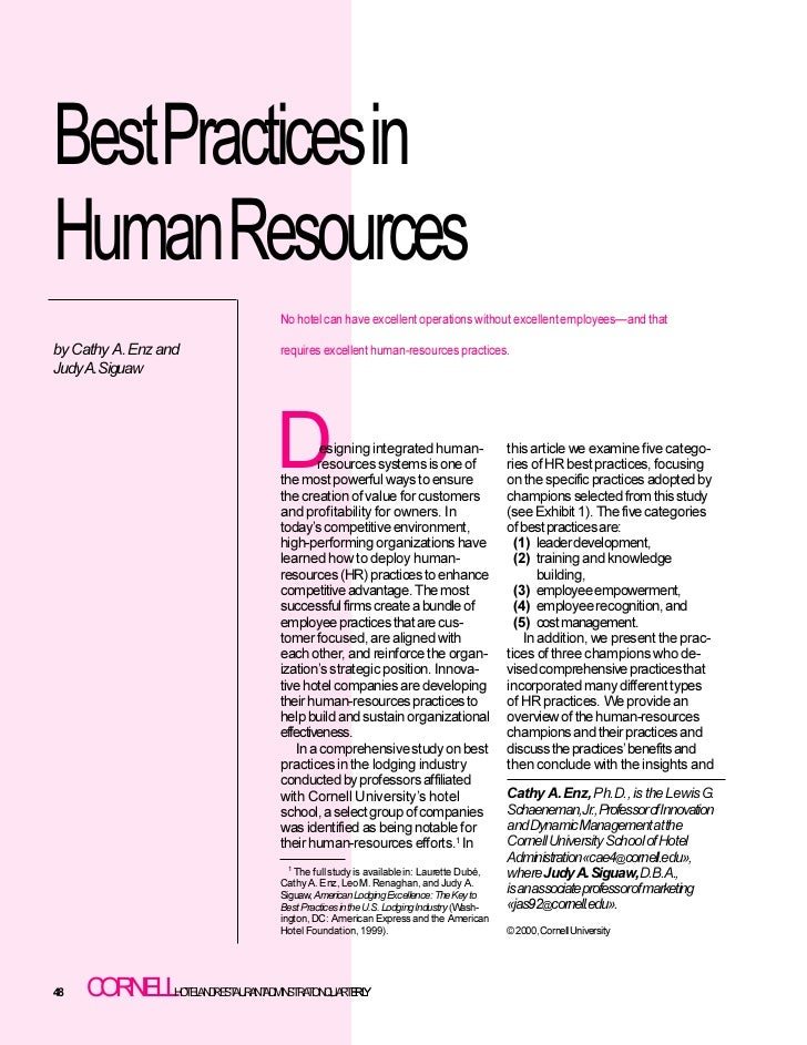 BestPracticesinHumanResources                                    No hotel can have excellent operations without excellent ...