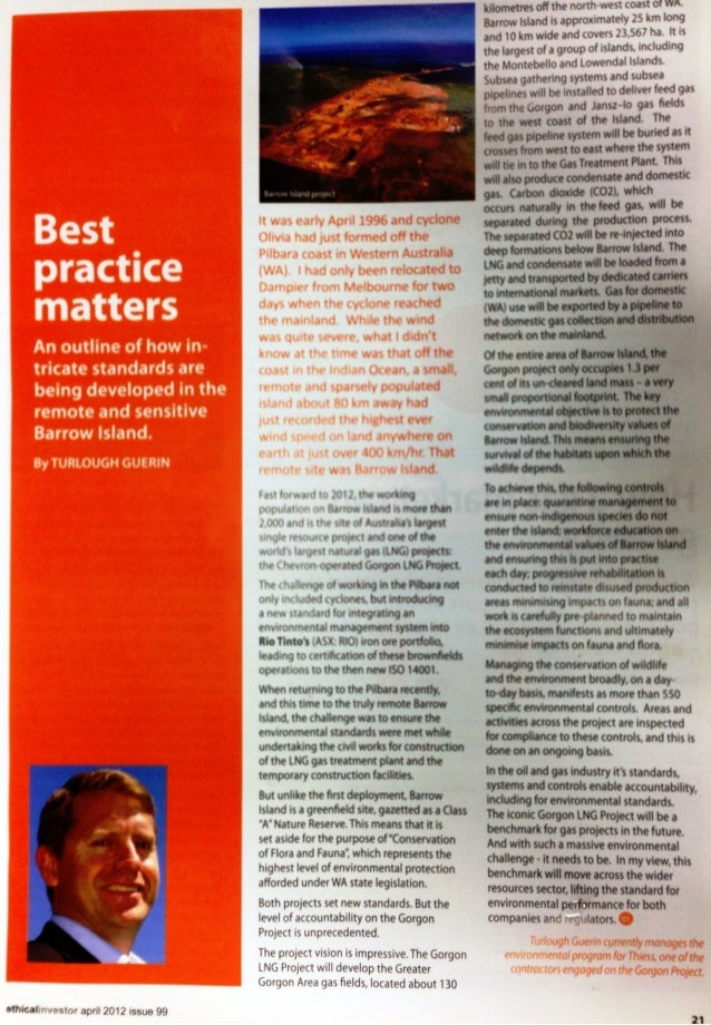 Best Practice Matters - Increasing HSEQ Standards for Australian LNG Projects?
