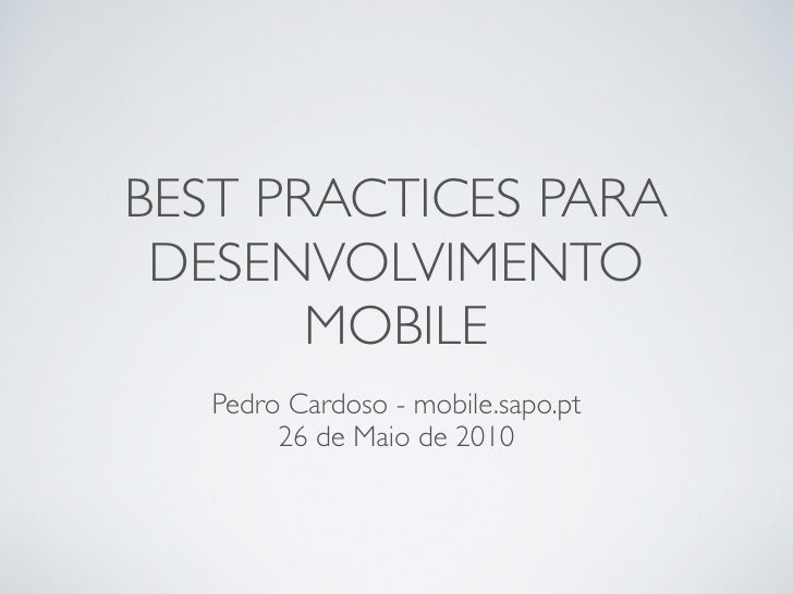 Best pratices para desenvolvimento mobile