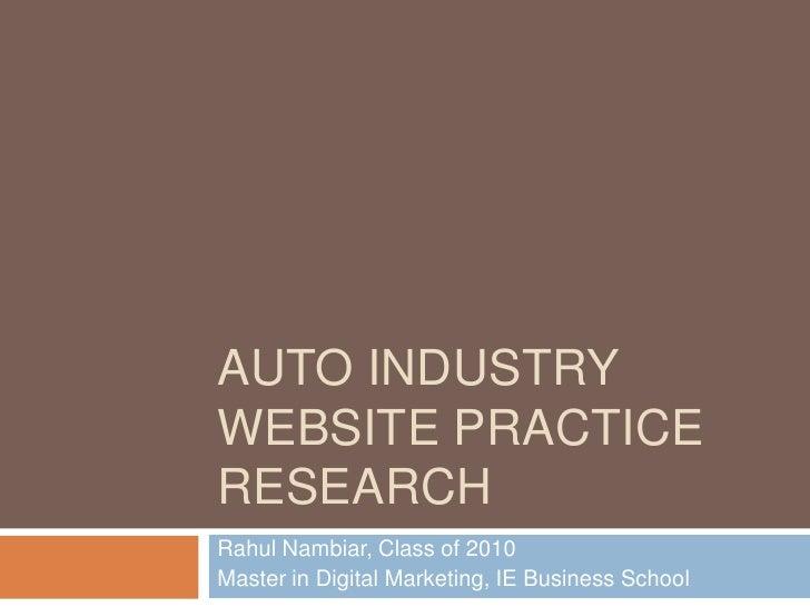 Best Practices in for Auto Industry Websites