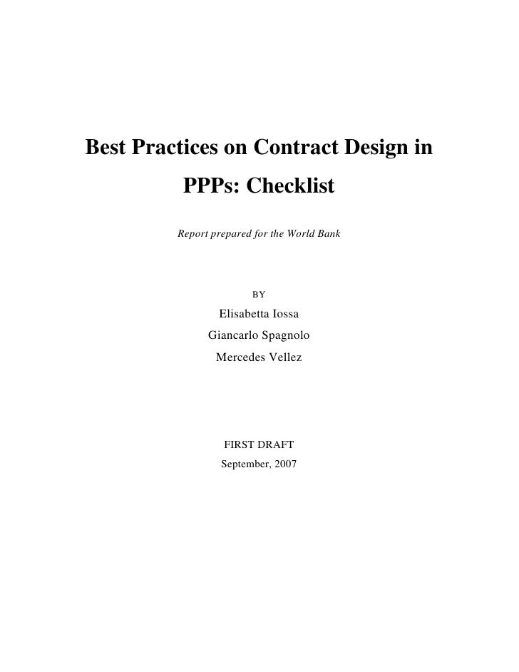 Best Practices on Contract Design in           PPPs: Checklist          Report prepared for the World Bank                ...