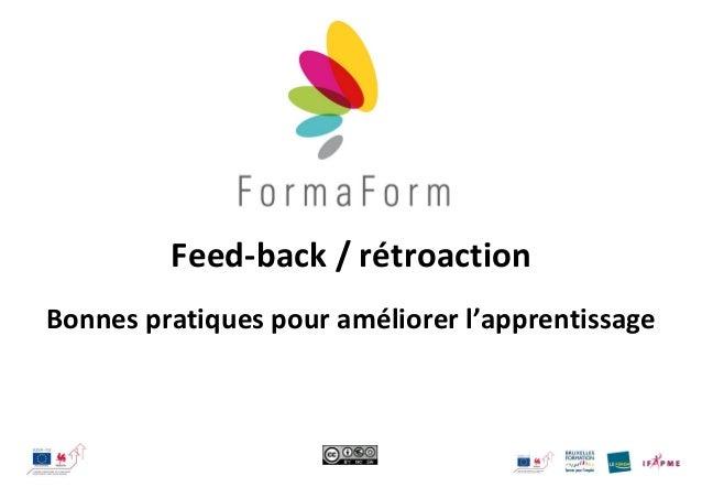 Feed-back / rétroaction Bonnes pratiques pour améliorer l'apprentissage
