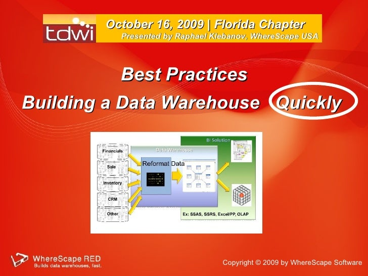 Best Practices Building a Data Warehouse  Quickly  October 16, 2009 | Florida Chapter  Presented by Raphael Klebanov, Wher...
