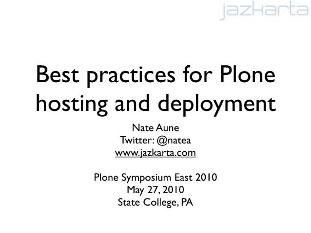 Best practices for hosting and deploying Plone