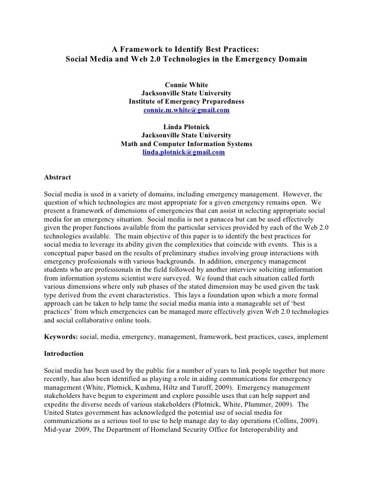A Framework to Identify Best Practices:        Social Media and Web 2.0 Technologies in the Emergency Domain              ...