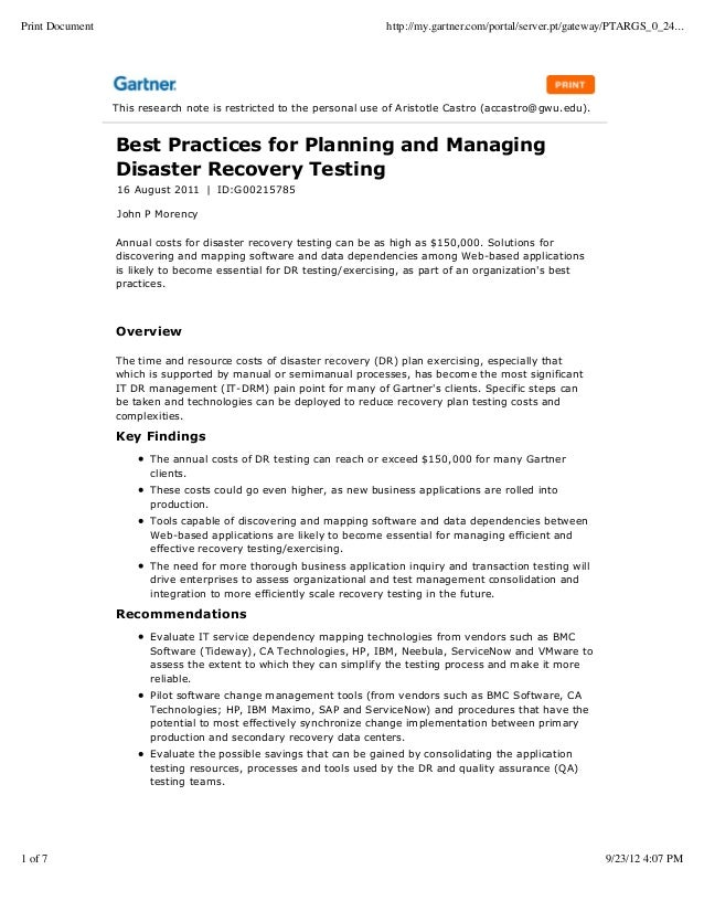 Best practices in dr management and testing