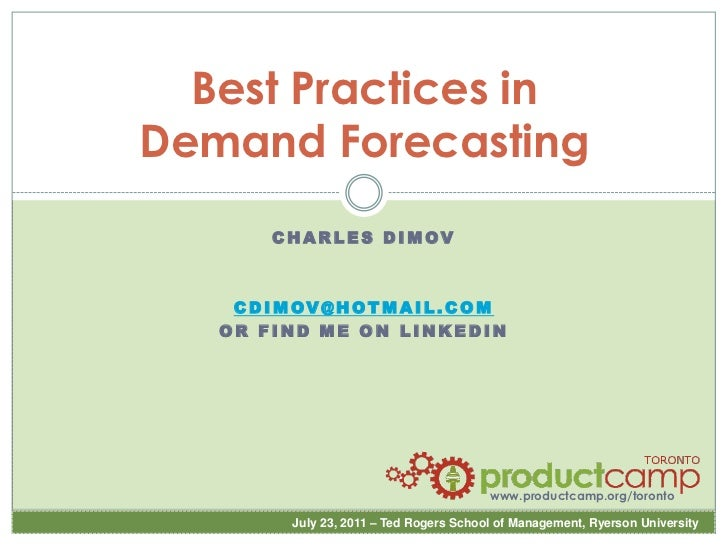 2011 - Best Practices In Forecasting