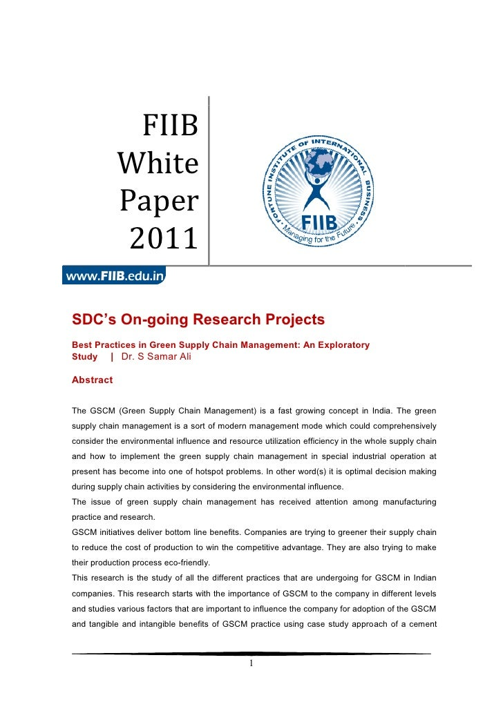 FIIB            White            Paper             2011SDC's On-going Research ProjectsBest Practices in Green Supply Chai...