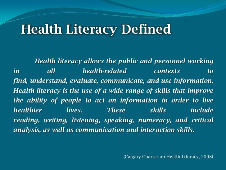 health literacy 2 essay Check out our top free essays on health literacy to help you write your own essay.