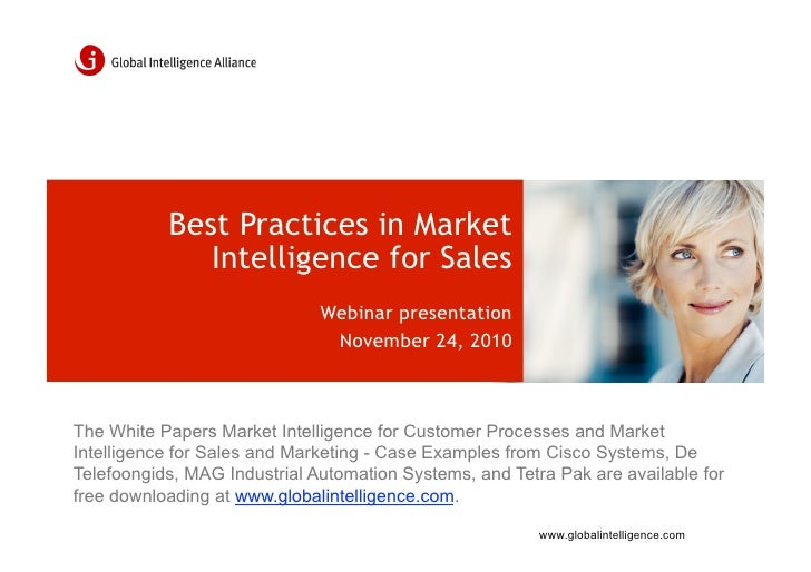 Best Practices in Market              Intelligence for Sales                              Webinar presentation            ...