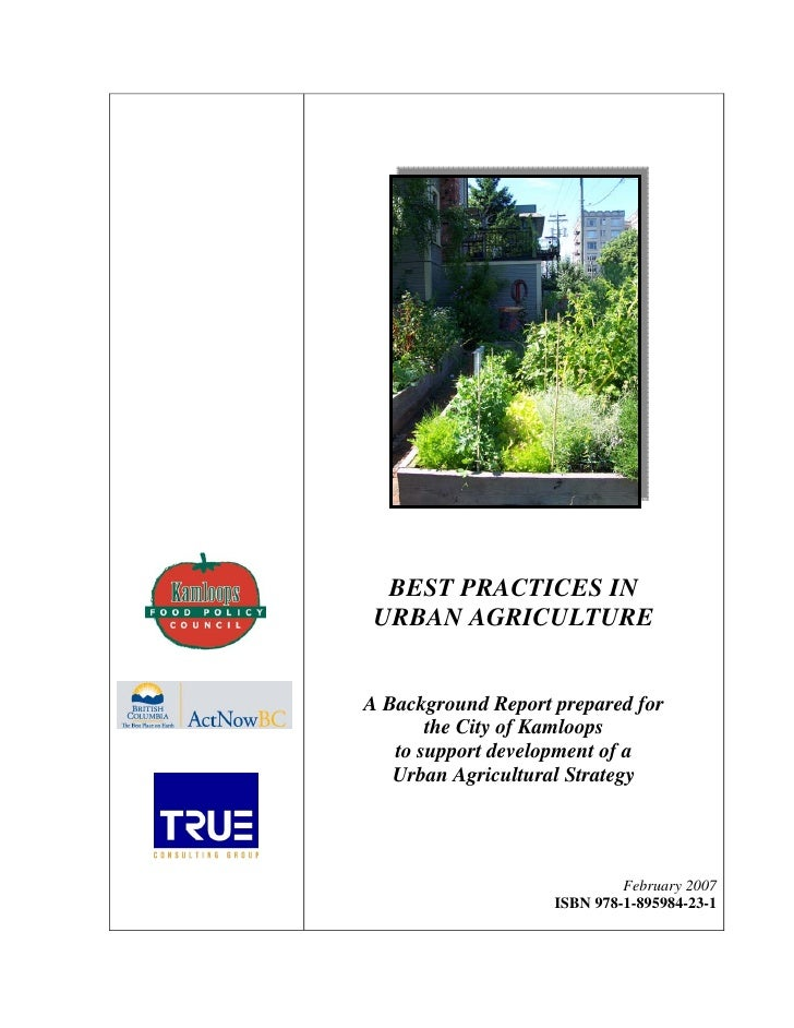 Best Practices in Urban Agriculture