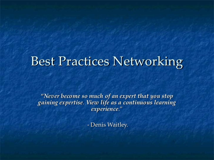 Best Practices Networking