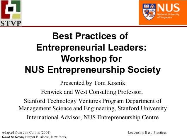 Best practices of entrepreneurial leaders