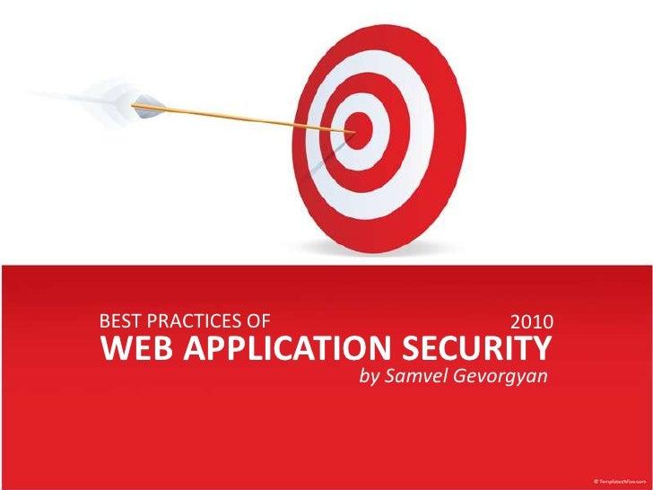 Best practices of web app security (samvel gevorgyan)