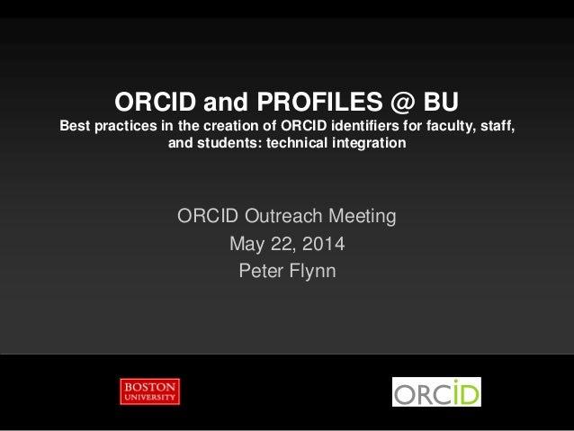 ORCID & Profiles at BU