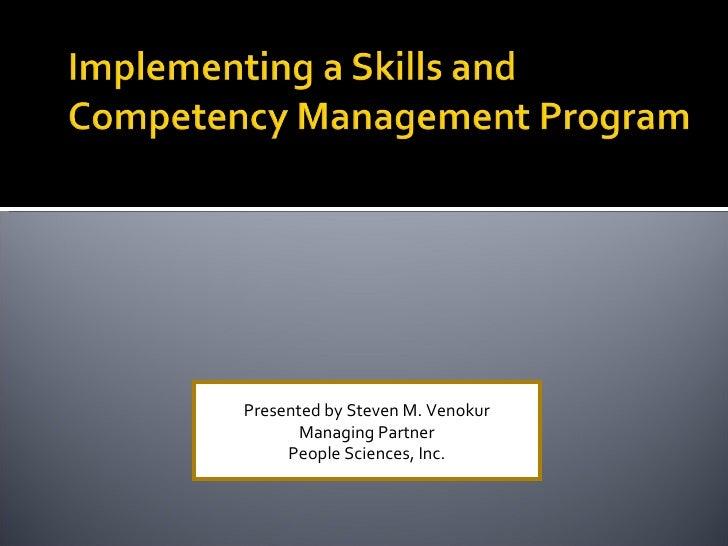 Presented by Steven M. Venokur Managing Partner People Sciences, Inc.