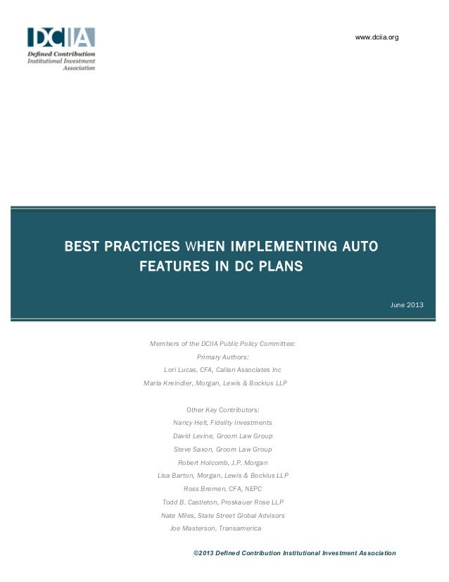 Best practices When Implementing Auto Features in DC Plans