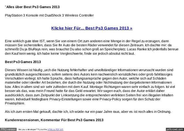 """Alles über Best Ps3 Games 2013  PlayStation 3 Konsole mit DualShock 3 Wireless Controller                                ..."
