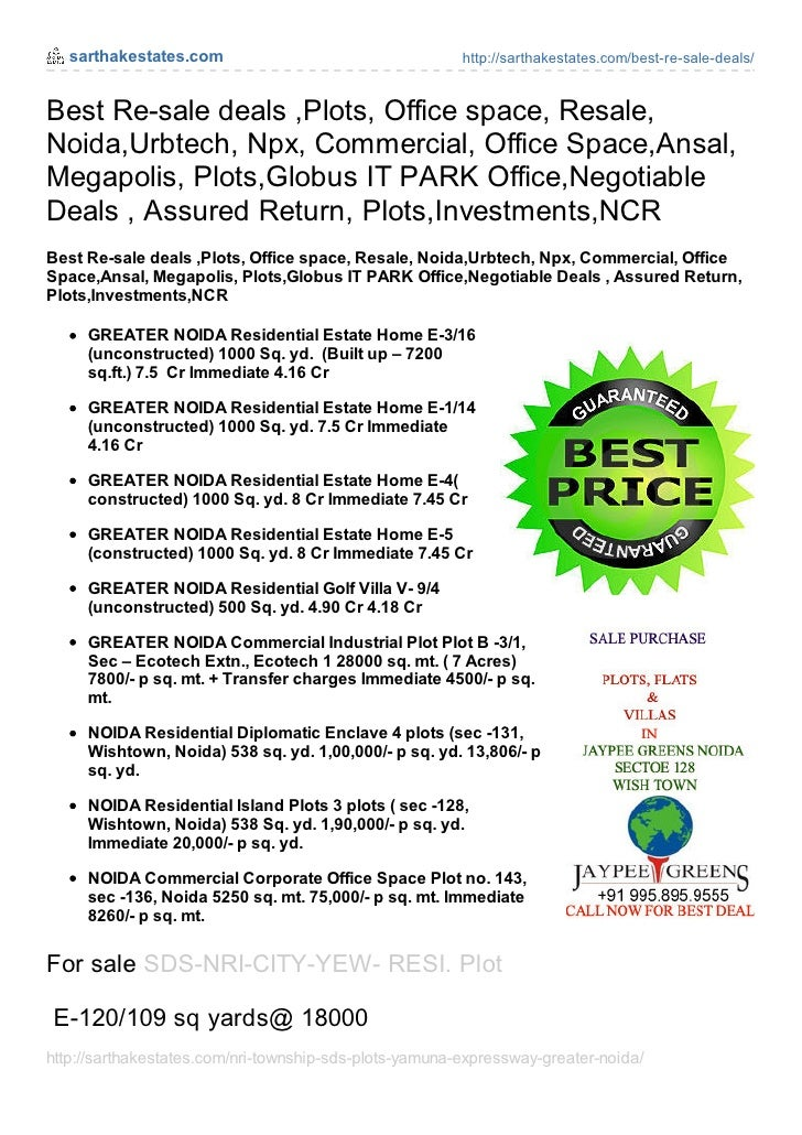 Best resale deals_plots_office_space_resale_noida_plots__commercial_office_space_jaypee_ansal_npx_sarthakestates.com