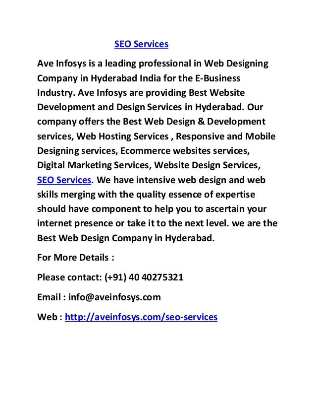 SEO Services Ave Infosys is a leading professional in Web Designing Company in Hyderabad India for the E-Business Industry...