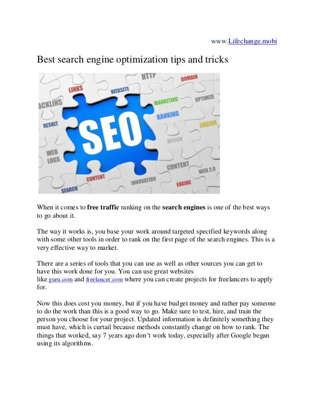 Best search engine optimization tips and tricks