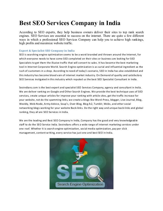 Best SEO Services Company in India According to SEO experts, they help business owners deliver their sites to top rank sea...