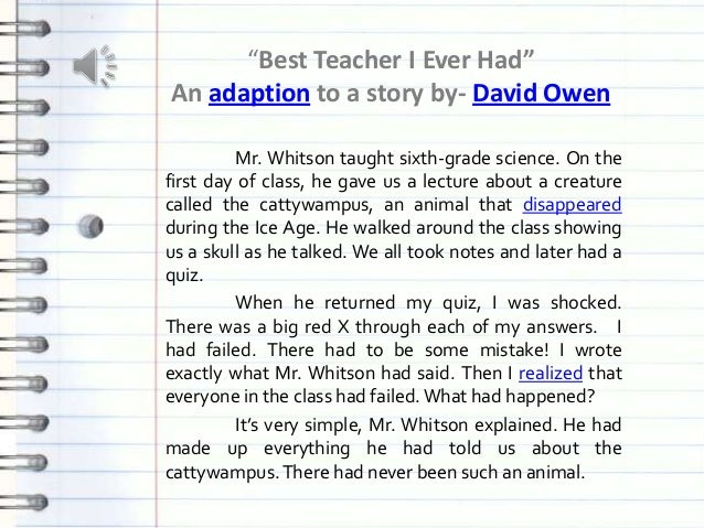 Essay On My Teacher For Kids