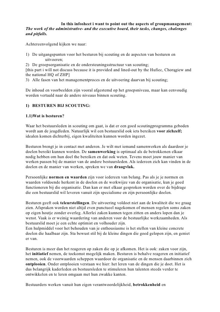 In this infosheet i want to point out the aspects of groupmanagement: The work of the administrative- and the executive bo...