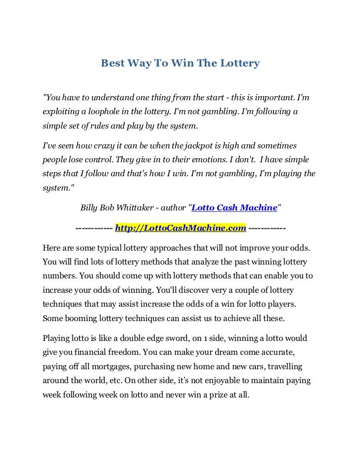 Best Way to Win the Lottery