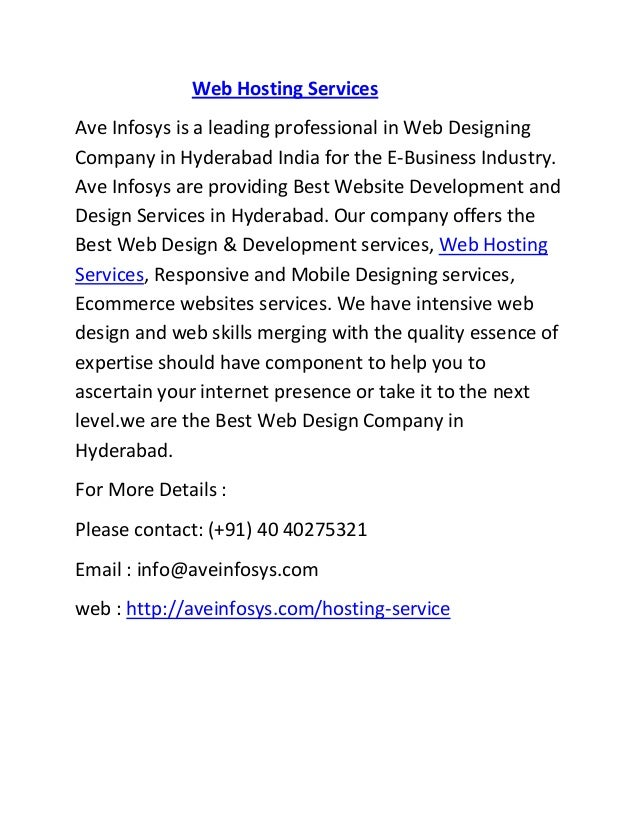 Web Hosting Services Ave Infosys is a leading professional in Web Designing Company in Hyderabad India for the E-Business ...