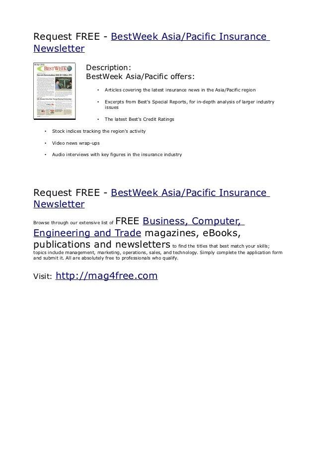 Request FREE - BestWeek Asia/Pacific InsuranceNewsletter                        Description:                        BestWe...