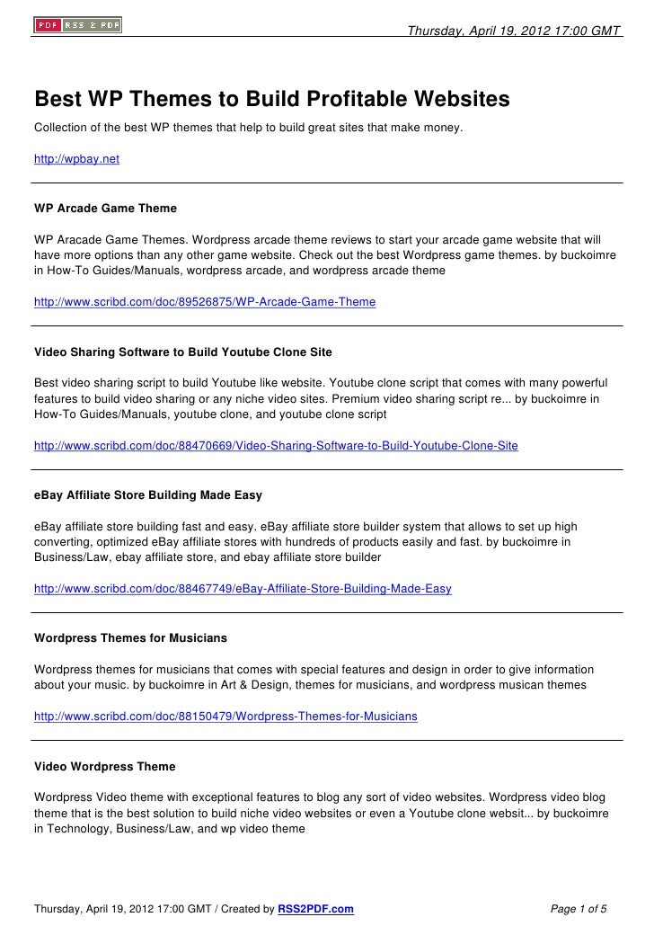 Thursday, April 19, 2012 17:00 GMTBest WP Themes to Build Profitable WebsitesCollection of the best WP themes that help to...