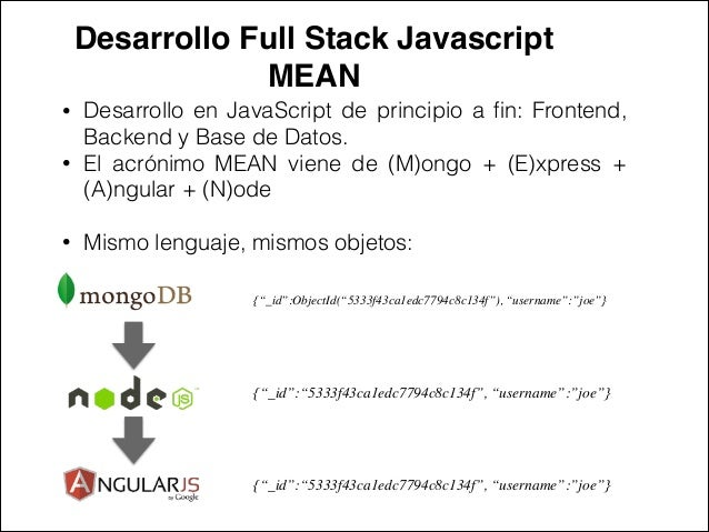 Desarrollo Full Stack Javascript ! MEAN • Desarrollo en JavaScript de principio a fin: Frontend, Backend y Base de Datos. •...
