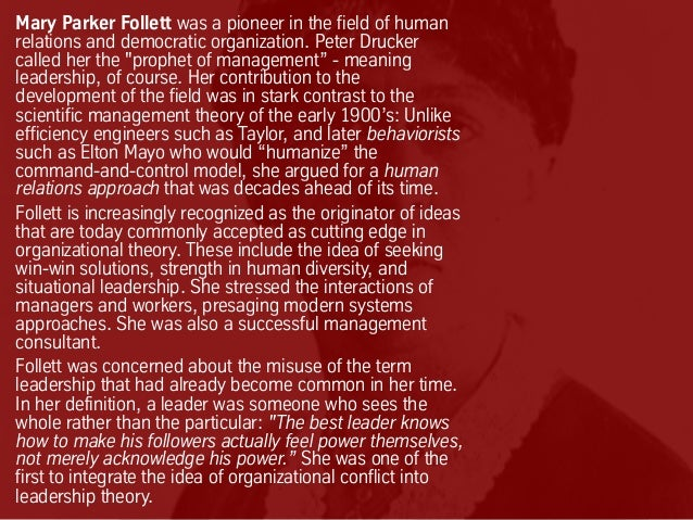 contribution of max weber mary parker follett and chester Lectures on evolution of management theory by henri fayol max weber mary parker follett chester i contribution of mary parker follett.