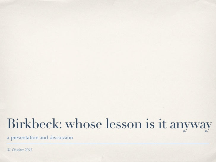 Birkbeck Excellence in Teaching award