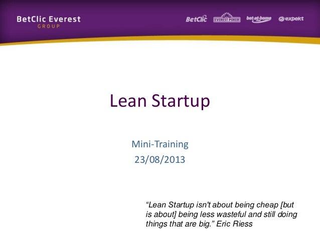 Mini-Training: Lean Startup