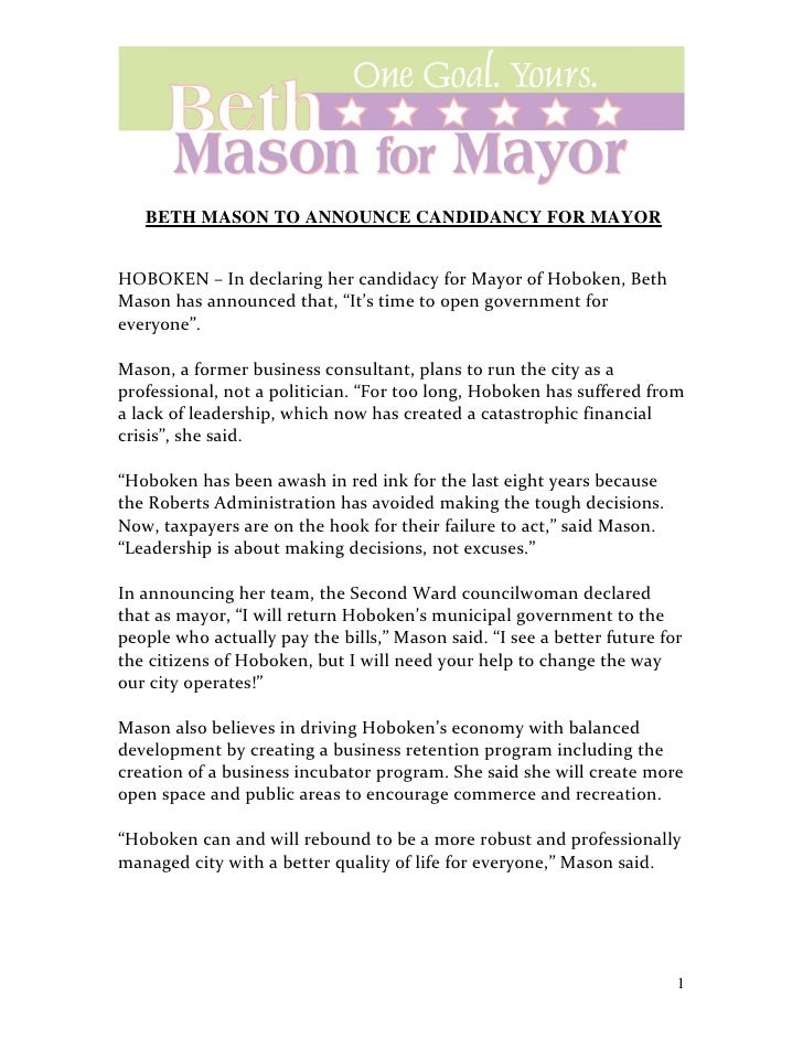BETH MASON TO ANNOUNCE CANDIDANCY FOR MAYOR                                                   1